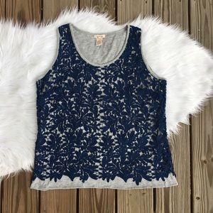 Sundance Gray Navy Lace Crochet Overlay Tank Top